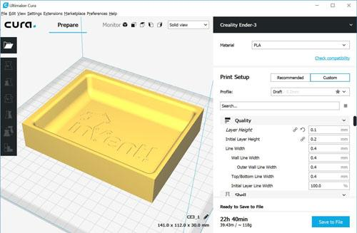 Cura slicing tooling model for 3D printing