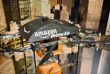 Amazon delivery drone on table