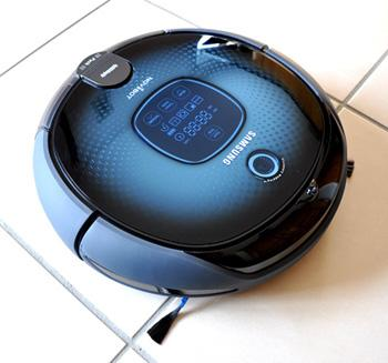 Robot hoover on tiled floor