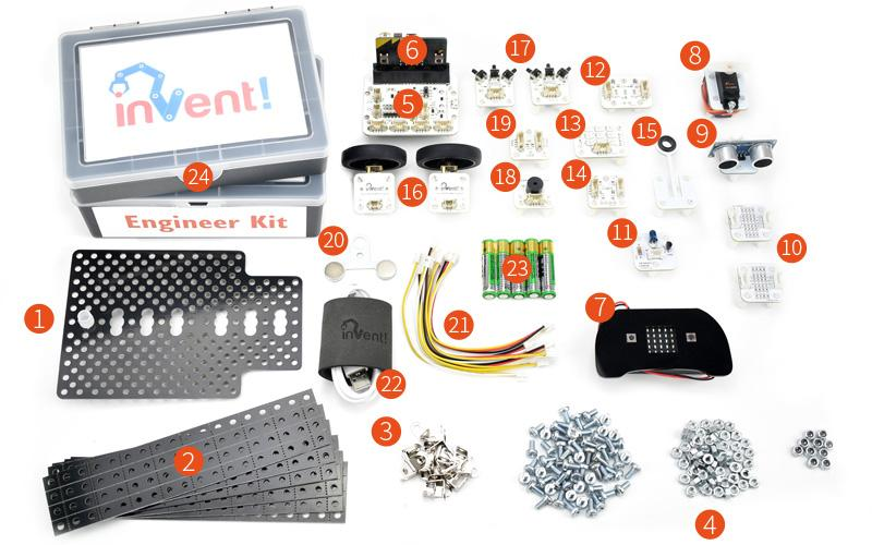 Invent! Blocks Engineer kit laid out contents