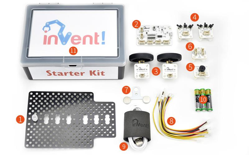 Invent! Blocks Junior Starter Kit laid out contents