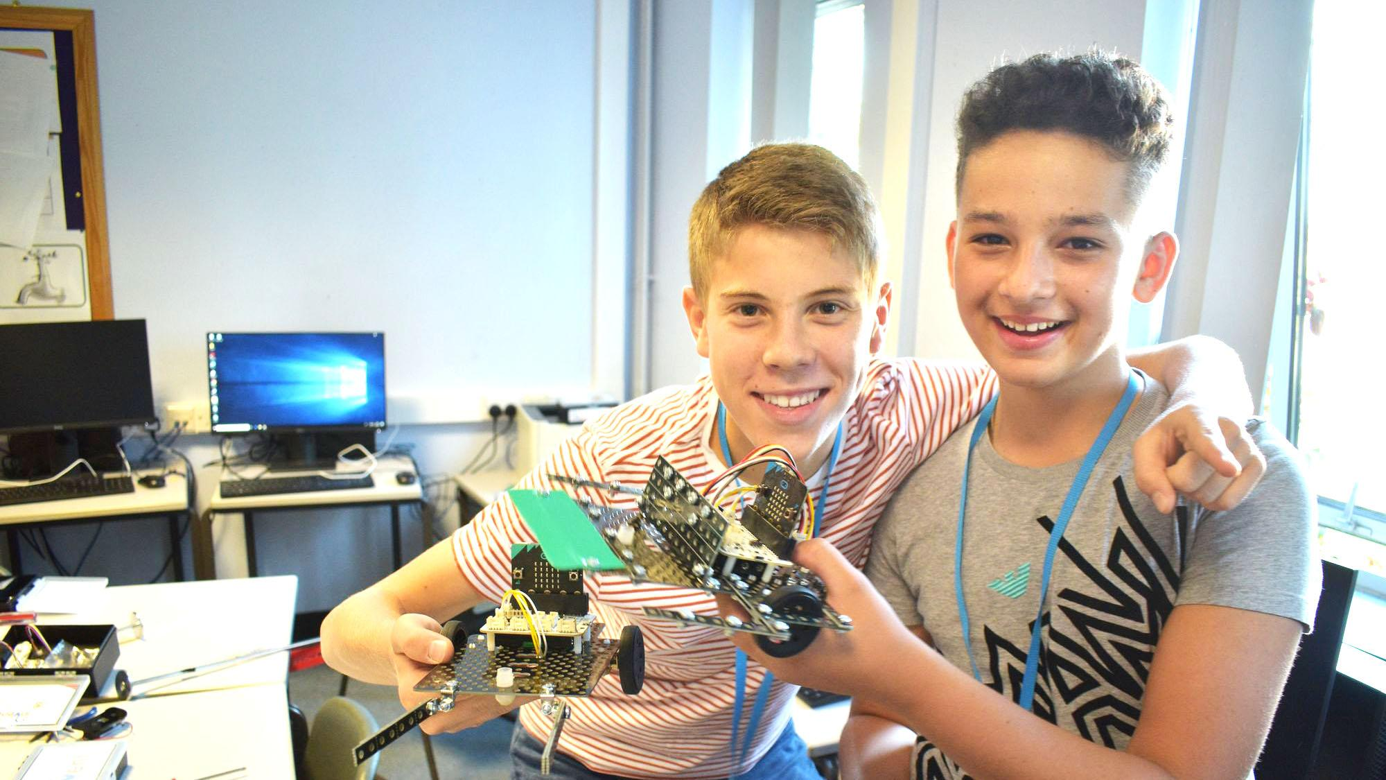 Boys doing robotics